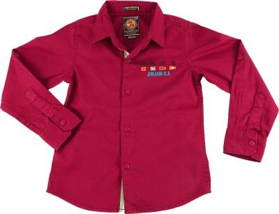 Jim & Jam Boy's Solid Casual Maroon Shirt