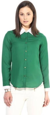 The Vanca Women's Solid Formal Green Shirt