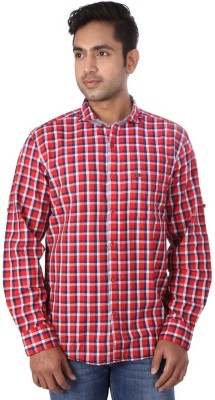 Warewell Men's Checkered Casual Red Shirt