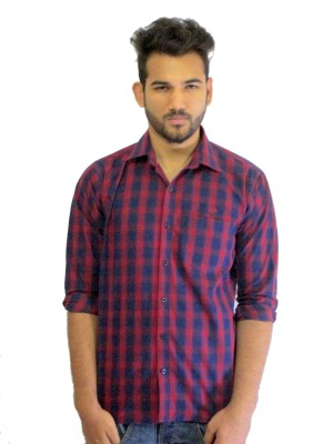 Solen Men's Checkered Casual, Party Red Shirt