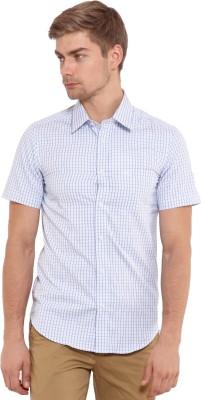 Classic Polo Men's Checkered Casual White, Blue Shirt