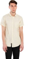 Only Vimal Formal Shirts (Men's) - Only Vimal Men's Striped Formal Linen Yellow, Brown Shirt