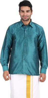Officers Choice Men's Solid Casual Green Shirt