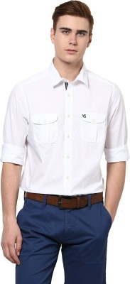 American Swan Men's Solid Casual White Shirt