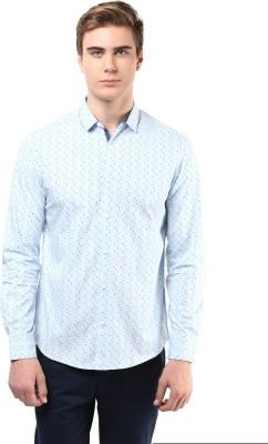 Atorse Men's Printed Casual Blue Shirt