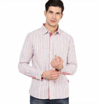 American Swan Men's Striped Casual Red Shirt