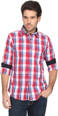 Denimlab Men's Checkered Casual White, Red Shirt