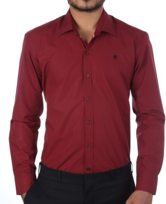 FORTY ONE FITZROY Men's Solid Formal Maroon Shirt