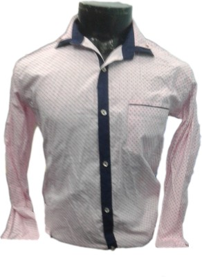 SPYKEY Men's Self Design Casual Pink Shirt