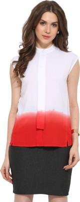 Leo Sansini Women's Solid Casual Red, White Shirt