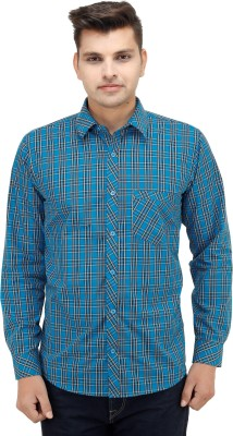 LEAF Men's Checkered Casual Blue, Light Blue Shirt