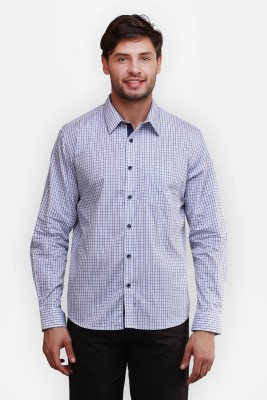 four one oh Men's Checkered Formal White Shirt