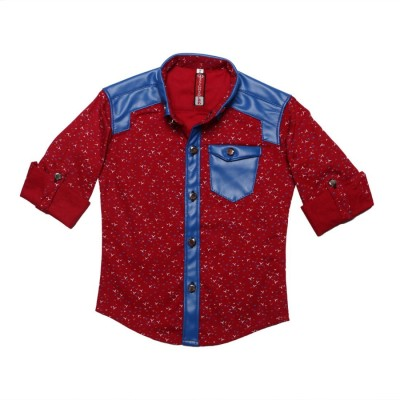 DL EMPORIUM Boy's Printed Casual Red Shirt