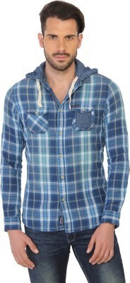 Being Human Men's Checkered Casual Blue Shirt