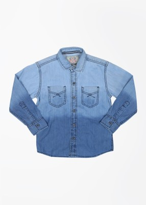 GJ Jeans Unltd Boy's Solid Casual Denim Blue Shirt