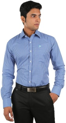 Relish Men's Checkered Formal Blue, Dark Blue Shirt