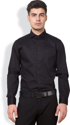 Black Coffee Men's Solid Formal Black Shirt