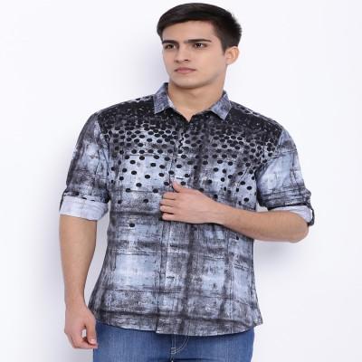 Le Bison Men's Printed Casual Black Shirt