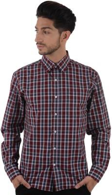 ShopperTree Men's Checkered Formal Maroon Shirt
