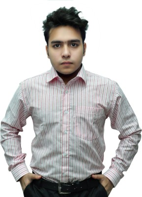Fashion Tree Men's Striped Formal White, Pink Shirt