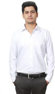 Frissk Men's Solid Formal White Shirt