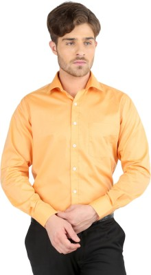 J Hampstead Men's Solid Formal Orange Shirt