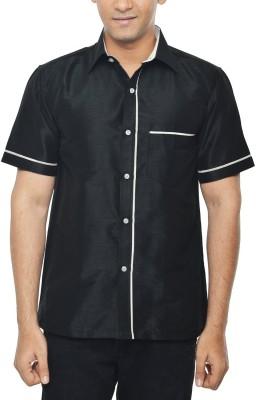 KENRICH Men's Solid Wedding, Casual, Party, Formal, Festive Black Shirt