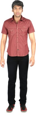 TomBerry Men's Checkered Casual Red Shirt