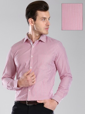 Invictus Men's Striped Formal White, Red Shirt