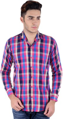 Christy's Collection Men's Checkered Casual Purple Shirt