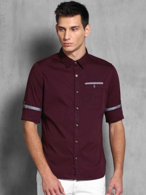 WROGN Men's Solid Casual Maroon Shirt