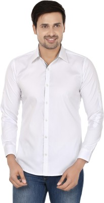 Smile By Nature Men's Solid Party, Casual White Shirt