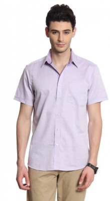 Cotton World Men's Solid Casual Purple Shirt