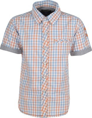 Bells and Whistles Boy's Checkered Casual White Shirt