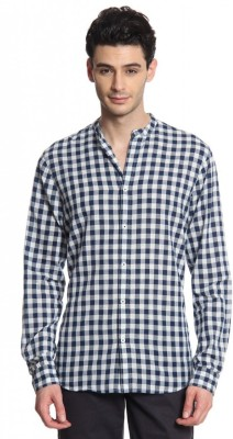 Cotton World Men's Checkered Casual Blue Shirt