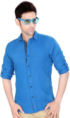 Ecohawk Men's Checkered Casual Blue Shirt