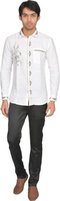 DoubleF Men's Embroidered Party Linen White Shirt
