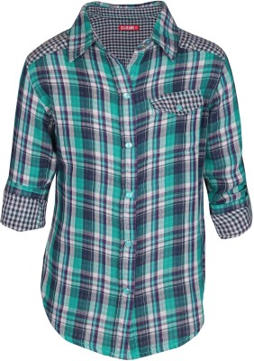 Gini & Jony Girl's Checkered Casual Blue Shirt