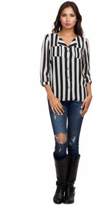 Orous Women's Striped Casual Black, White Shirt