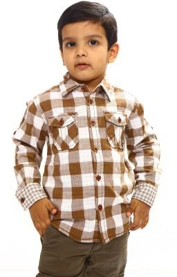 Bio Kid Boy's Checkered Casual Brown, White Shirt