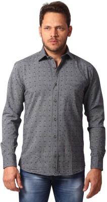 Club Fox Men's Self Design Casual Grey Shirt