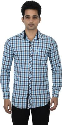 Jim Scott Men's Checkered Casual Black, Blue, White Shirt