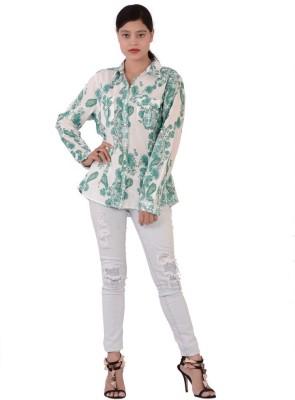 Fashnopolism Women's Floral Print Casual Green Shirt