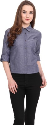 Blue Sequin Women's Solid Casual Blue Shirt