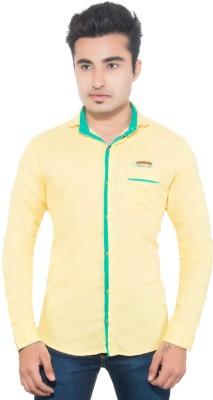 Goodkarma Men's Self Design Casual Yellow Shirt