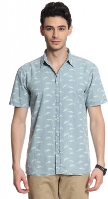 Cotton World Men's Printed Casual Blue Shirt