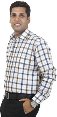 SIERA Men's Checkered Formal Brown, Grey, White Shirt