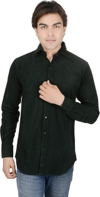 ALLANZO Men's Solid Casual Green Shirt