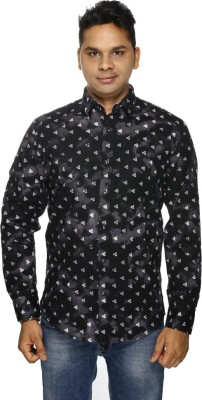 ALBI NYC Men's Printed Casual, Wedding Black Shirt