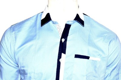 Indian Touch Men,s Solid Casual Blue Shirt